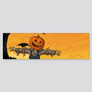 Halloween Scarecrow With Pumpkin Head Bumper Stick
