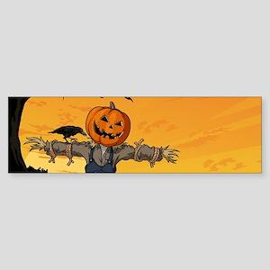 Halloween Scarecrow With Pumpkin Head Bumper Stick