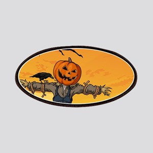 Halloween Scarecrow With Pumpkin Head Patch