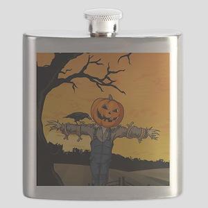 Halloween Scarecrow With Pumpkin Head Flask