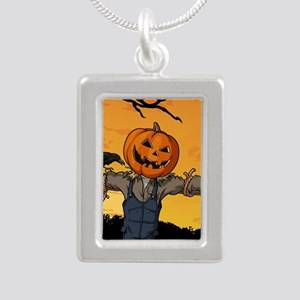 Halloween Scarecrow With Pumpkin Head Necklaces