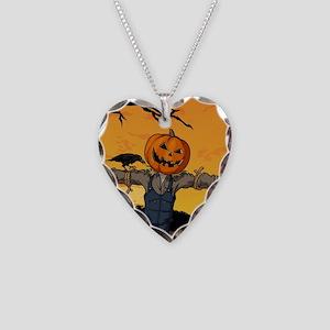 Halloween Scarecrow With Pumpkin Head Necklace Hea