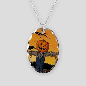 Halloween Scarecrow With Pumpkin Head Necklace Ova