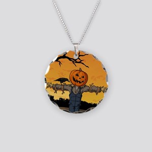 Halloween Scarecrow With Pumpkin Head Necklace Cir