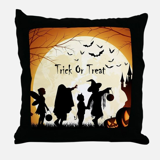 Halloween Trick Or Treat Kids Throw Pillow