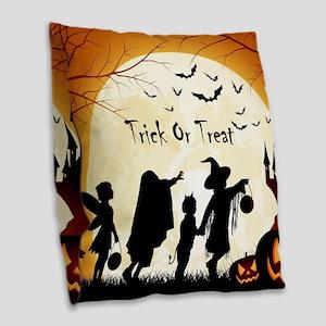 Halloween Trick Or Treat Kids Burlap Throw Pillow