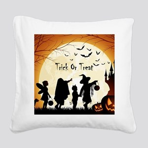 Halloween Trick Or Treat Kids Square Canvas Pillow