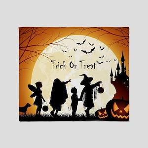 Halloween Trick Or Treat Kids Throw Blanket