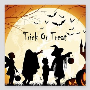 """Halloween Trick Or Treat Kids Square Car Magnet 3"""""""