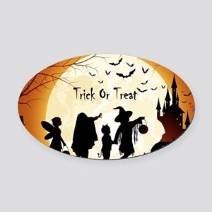 Halloween Trick Or Treat Kids Oval Car Magnet