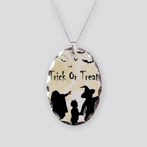 Halloween Trick Or Treat Kids Necklace Oval Charm