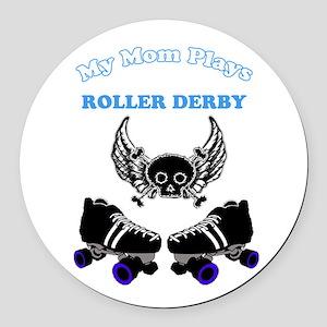 My Mom Plays Roller Derby (Boy) Round Car Magnet