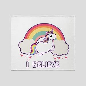 I Believe in Unicorns Throw Blanket