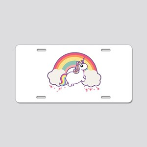 Chubby Unicorn Aluminum License Plate