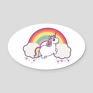 Chubby Unicorn Oval Car Magnet