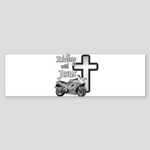 Riding with Jesus Bumper Sticker