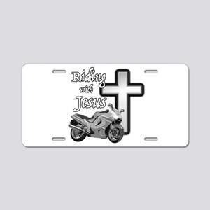 Riding with Jesus Aluminum License Plate