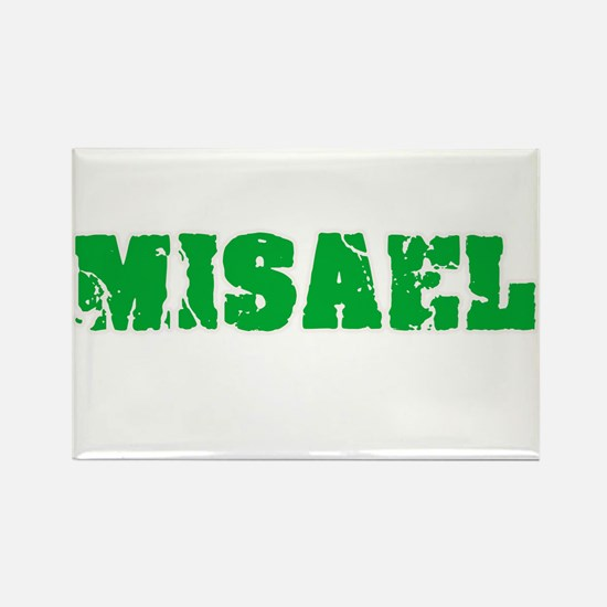 Misael Name Weathered Green Design Magnets