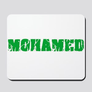 Mohamed Name Weathered Green Design Mousepad
