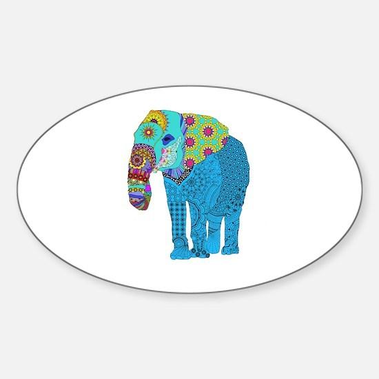 Tangled Elephant Blue Sticker (Oval)