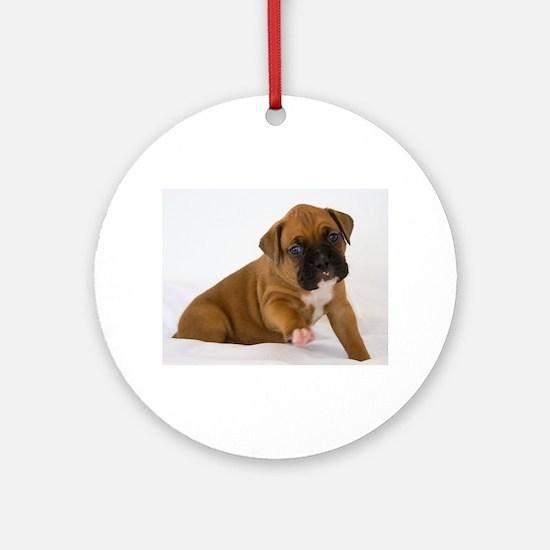 Fawn Boxer Puppy Round Ornament