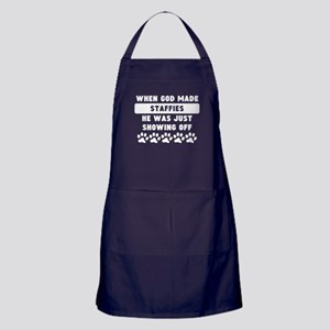 When God Made Staffies Apron (dark)