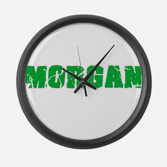 Morgan Name Weathered Green Desig Large Wall Clock