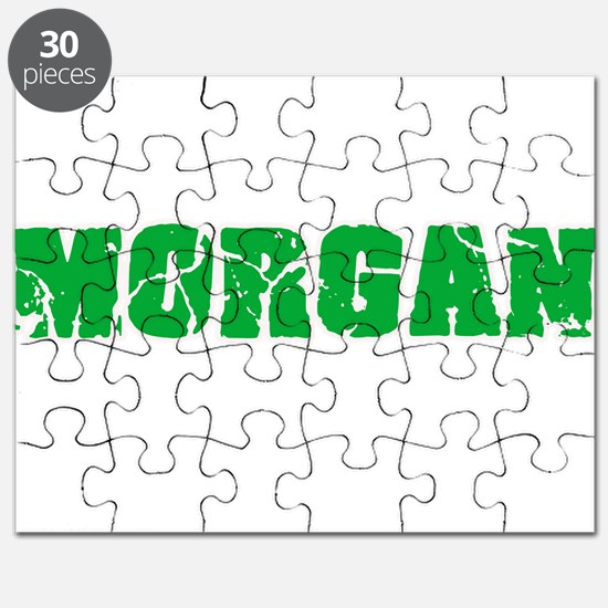 Morgan Name Weathered Green Design Puzzle