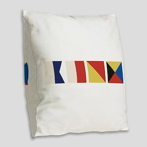Nautical Flags Burlap Throw Pillow