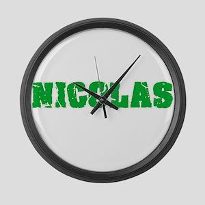 Nicolas Name Weathered Green Desi Large Wall Clock