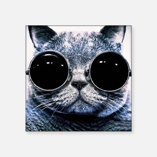 """Cool Cat With Shades Square Sticker 3"""" x 3"""""""