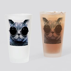 Cool Cat With Shades Drinking Glass