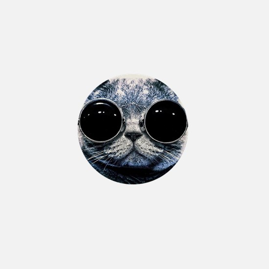 Cool Cat With Shades Mini Button