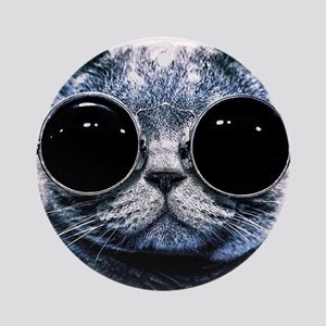 Cool Cat With Shades Round Ornament
