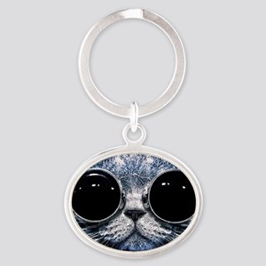 Cool Cat With Shades Oval Keychain