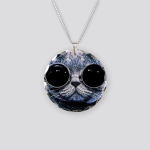 Cool Cat With Shades Necklace Circle Charm