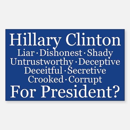 Hillary For President? Sticker (rectangle)