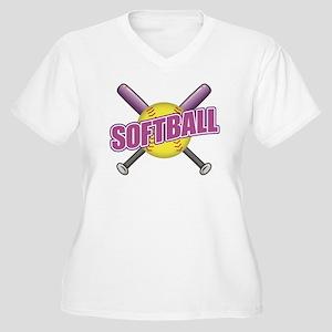 Crossed Bats Soft Women's Plus Size V-Neck T-Shirt