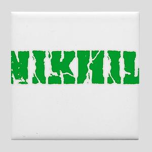 Nikhil Name Weathered Green Design Tile Coaster