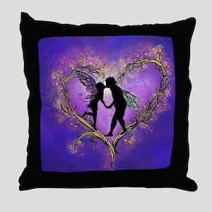 Kissing Fairies Throw Pillow