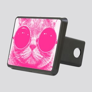 Cool Pink Cat With Shades Rectangular Hitch Cover