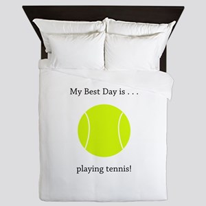 Best Day Playing Tennis Gifts Queen Duvet