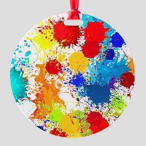 Paintball Splatter Wall Round Ornament