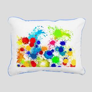 Paintball Splatter Wall Rectangular Canvas Pillow