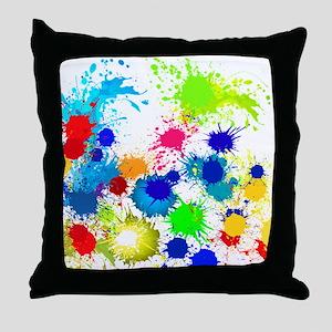 Paintball Splatter Wall Throw Pillow