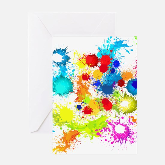 Paintball Splatter Wall Greeting Cards