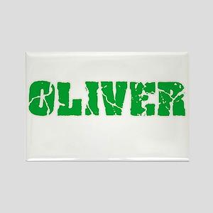 Oliver Name Weathered Green Design Magnets