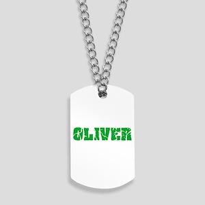 Oliver Name Weathered Green Design Dog Tags
