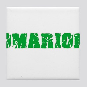 Omarion Name Weathered Green Design Tile Coaster