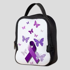 Purple Awareness Ribbon Neoprene Lunch Bag